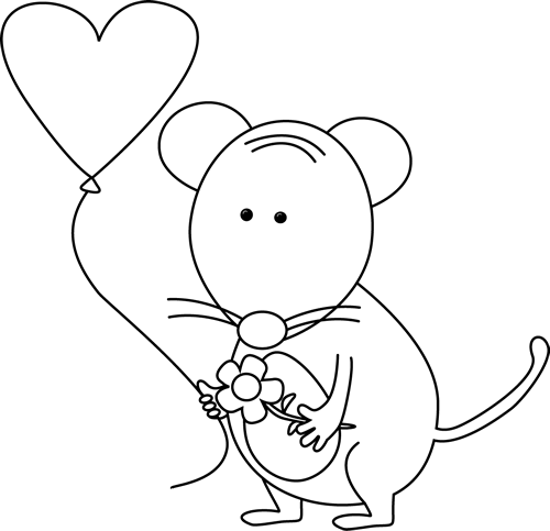 Cute Black And White Valentine S Day Mouse Valentine Clipart Cute Black Mouse Drawing