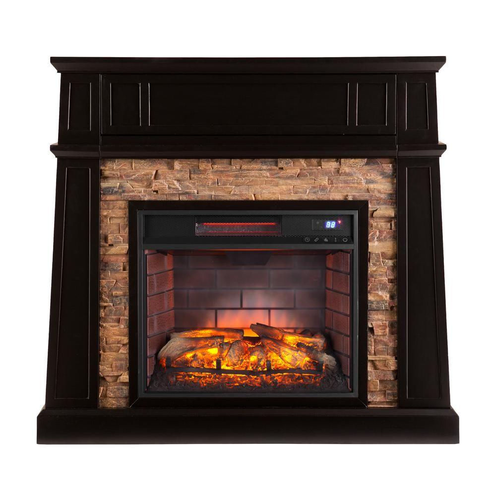buffalo 44 25 in w faux stone infrared media fireplace in black