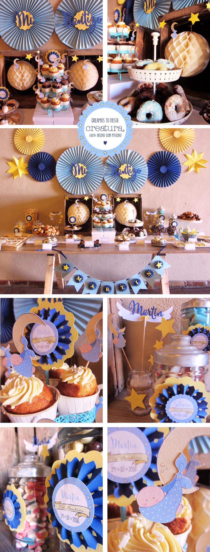 Mesa dulce de estrellas y lunas para el Bautizo de Martín | Smile design