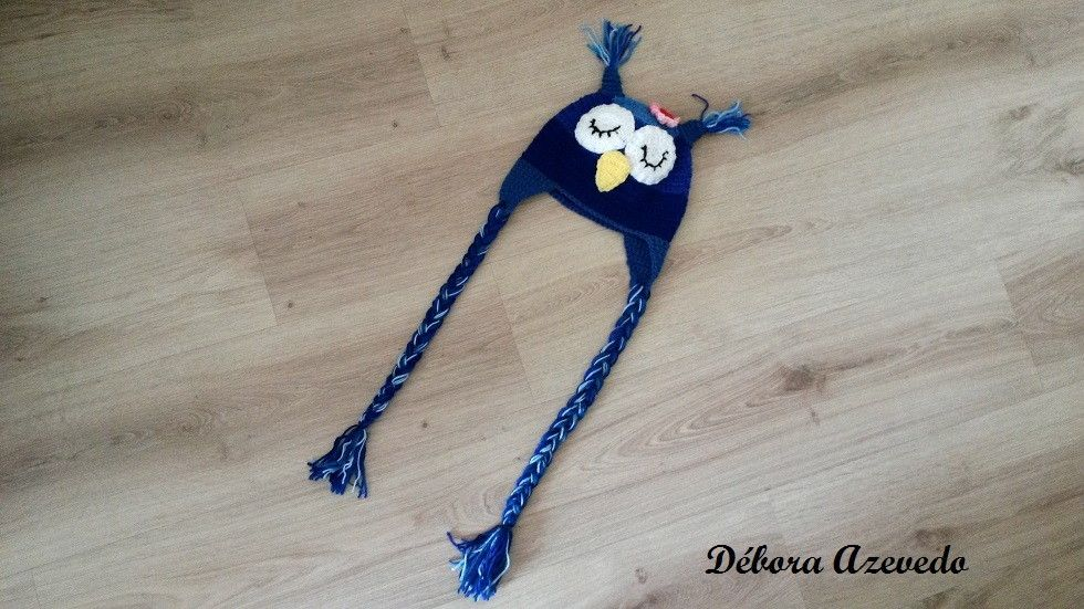 Touca em Crochê Coruja Azul, <br>Disponibilidade de outras cores e modelos. <br> <br>FRETE GRÁTIS SOMENTE PARA SP.