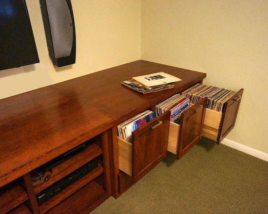custom audio and vinyl record storage cabinet