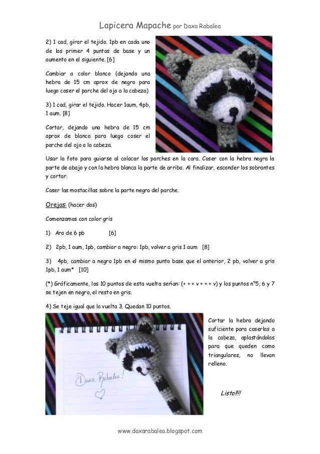 patron cubre Lapicera mapache amigurumi | amigumis | Pinterest ...
