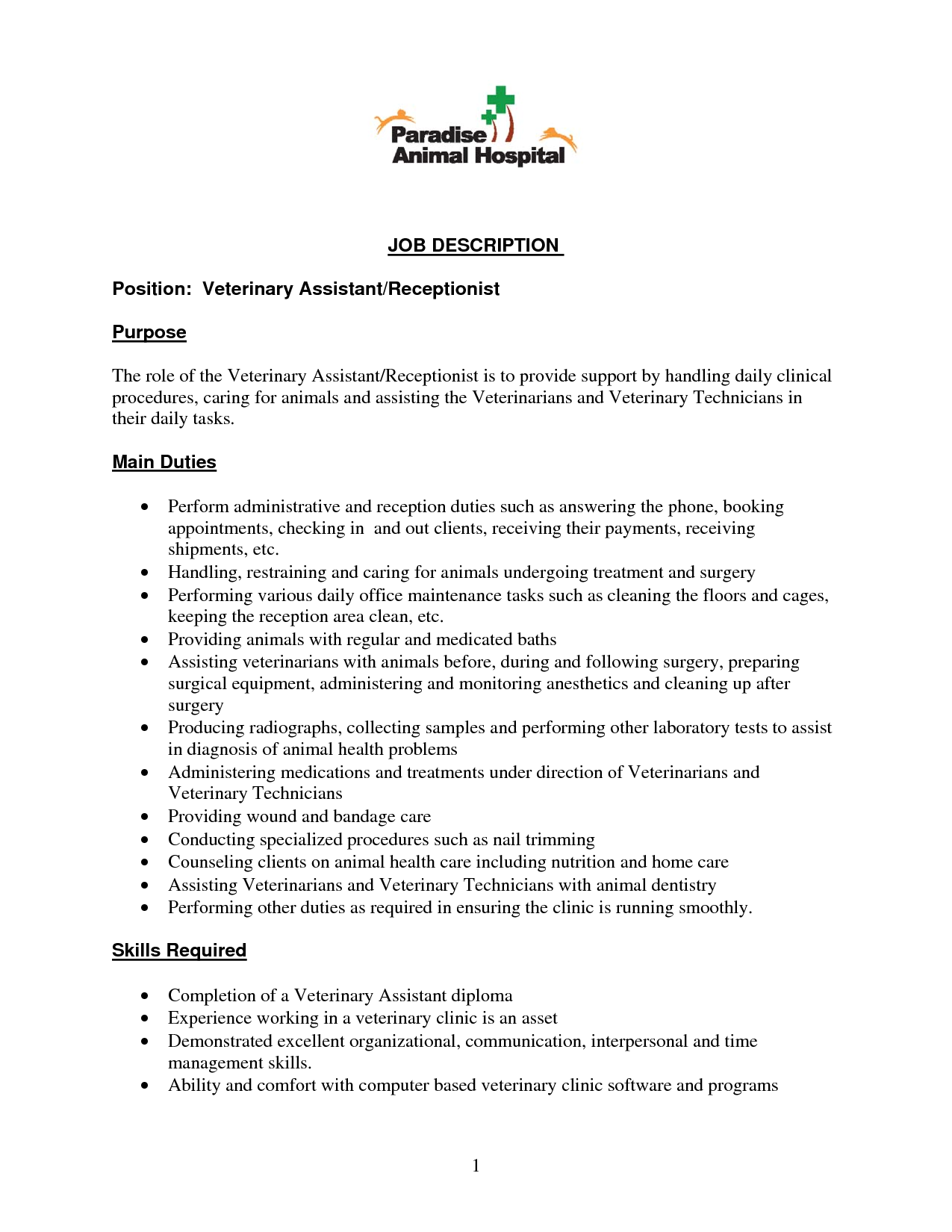 Resume Examples Veterinary Receptionist 1 Resume Examples Resume