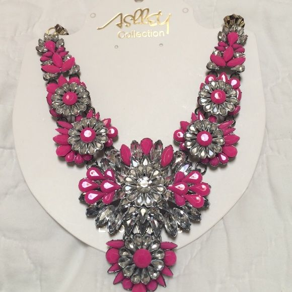 Hot pink and silver statement necklace Hot pink and silver statement necklace Jewelry Necklaces