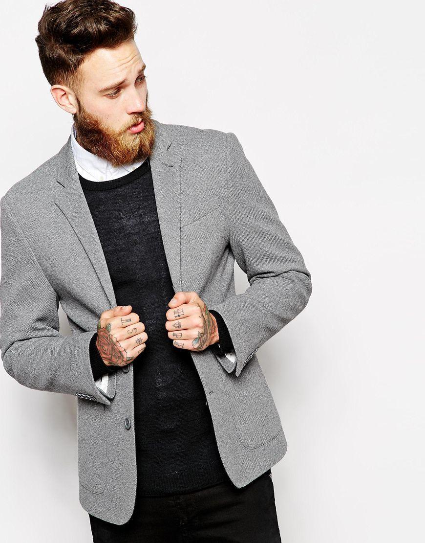 ASOS Slim Fit Blazer In Pique Jersey at asos.com