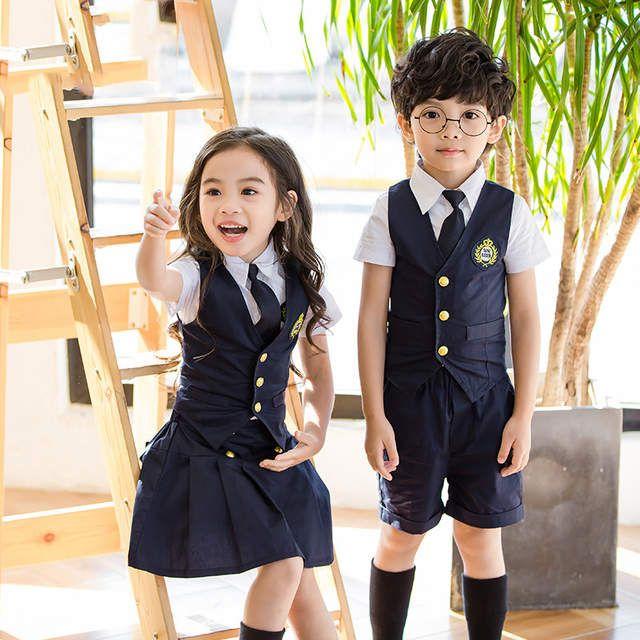 6b756868a1 Children Korean Japanese Student Formal Preppy School Uniforms for Girls  Boys Kids Shirt Waistcoast Skirt Pants Tie Clothes W50