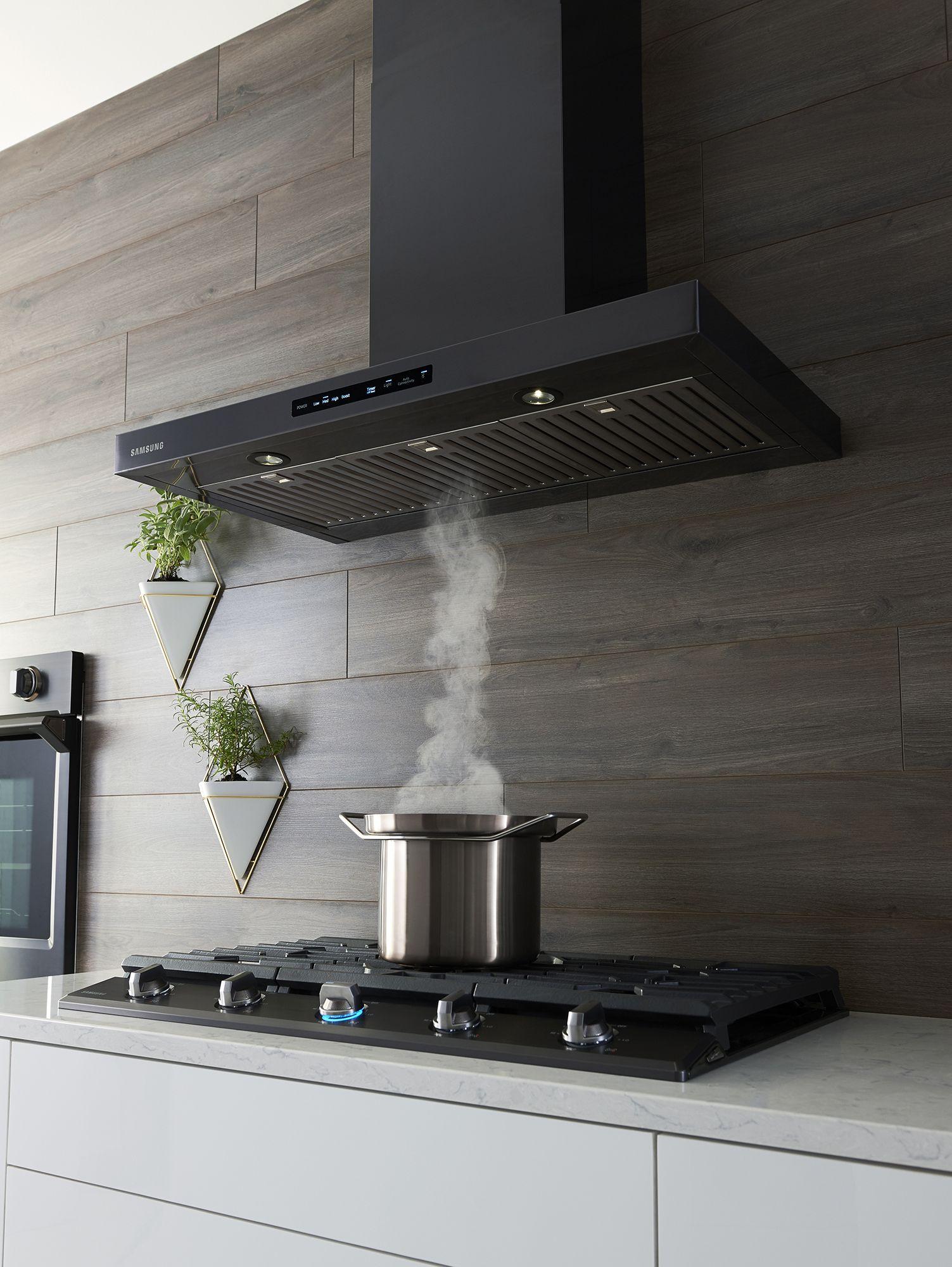 Samsung Cooktops Hoods Use Bluetooth Technology To Work Together For Optimum Performance Modern Kitchen Hood Kitchen Range Hood Black Stainless Steel Kitchen