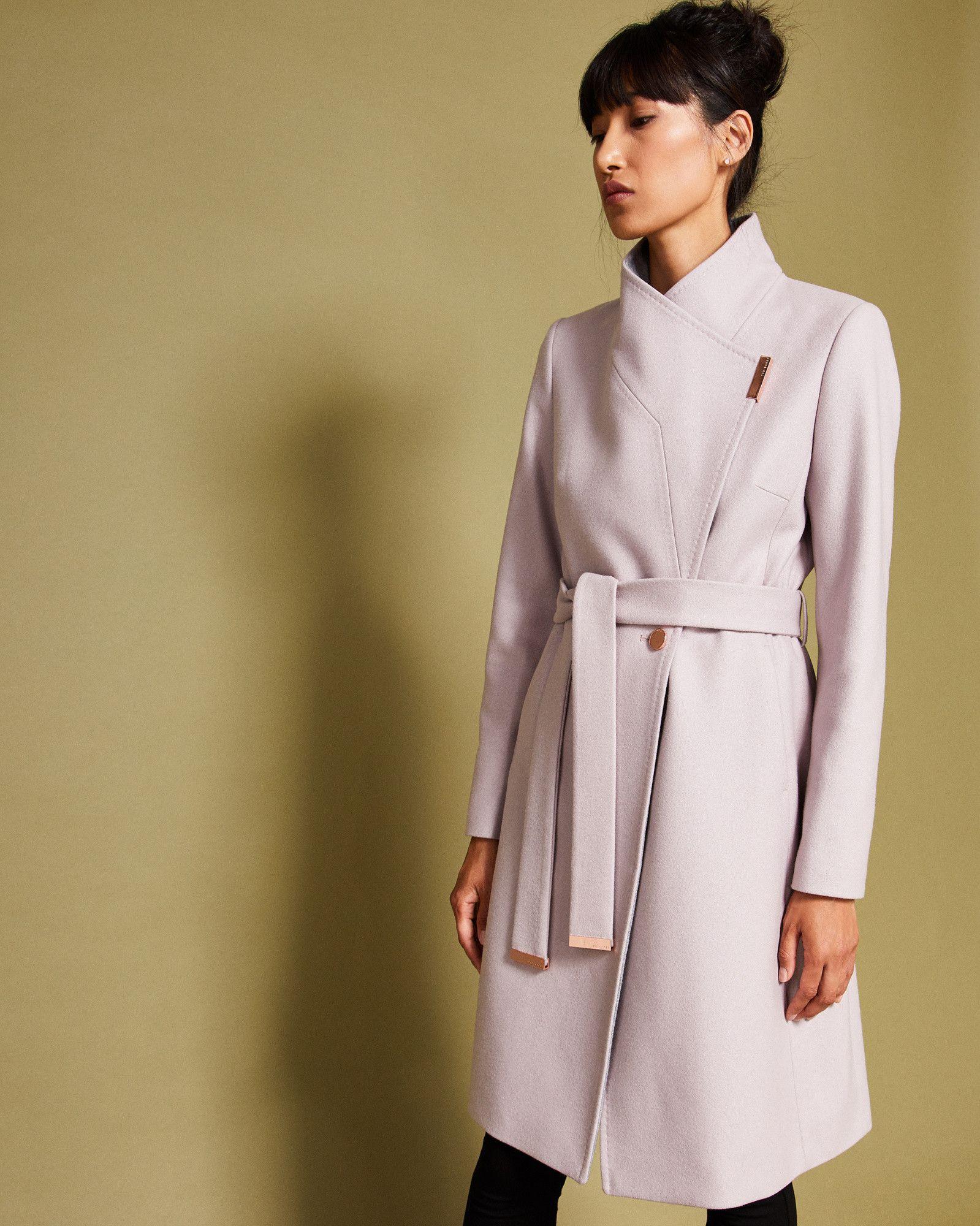 04925a8b555f Wool-cashmere wrap coat - Dusky Pink