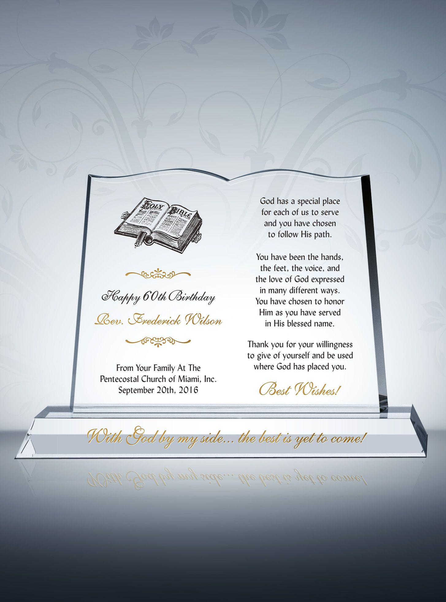Pastor Birthday Gift Plaque