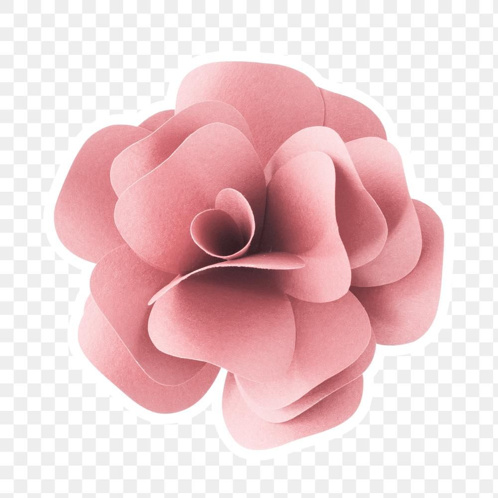 Pink Rose 3d Papercraft Flower Sticker Png Premium Image By Rawpixel Com Namcha White Anemone Flower Sunflower Paper Craft Green Leaf Decor