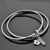 LWSilver - Flower Bangle Charm, Silver Flower Bangle, Handmade Daisy Bangles. #jewellery #LWSilver #handmade #silver #daisy #bangle
