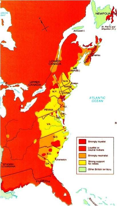 Map Showing British Loyalist And Rebel Areas Of Support During The - Map of us after revolutionary war