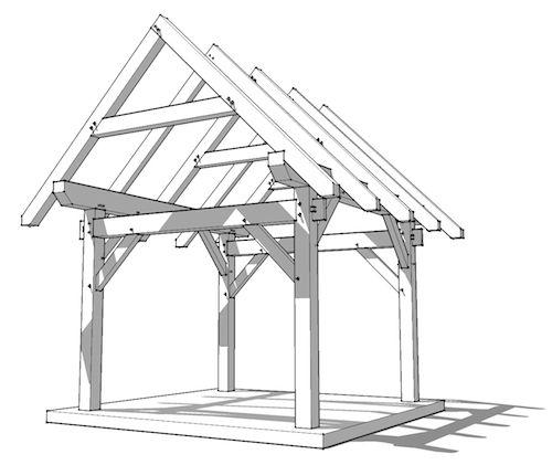 12x12 Timber Frame | Garden | Pinterest | Exposed rafters, Pergolas ...