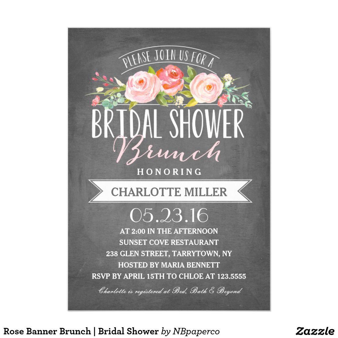 Rose Banner Brunch Bridal Shower 5x7 Paper Invitation
