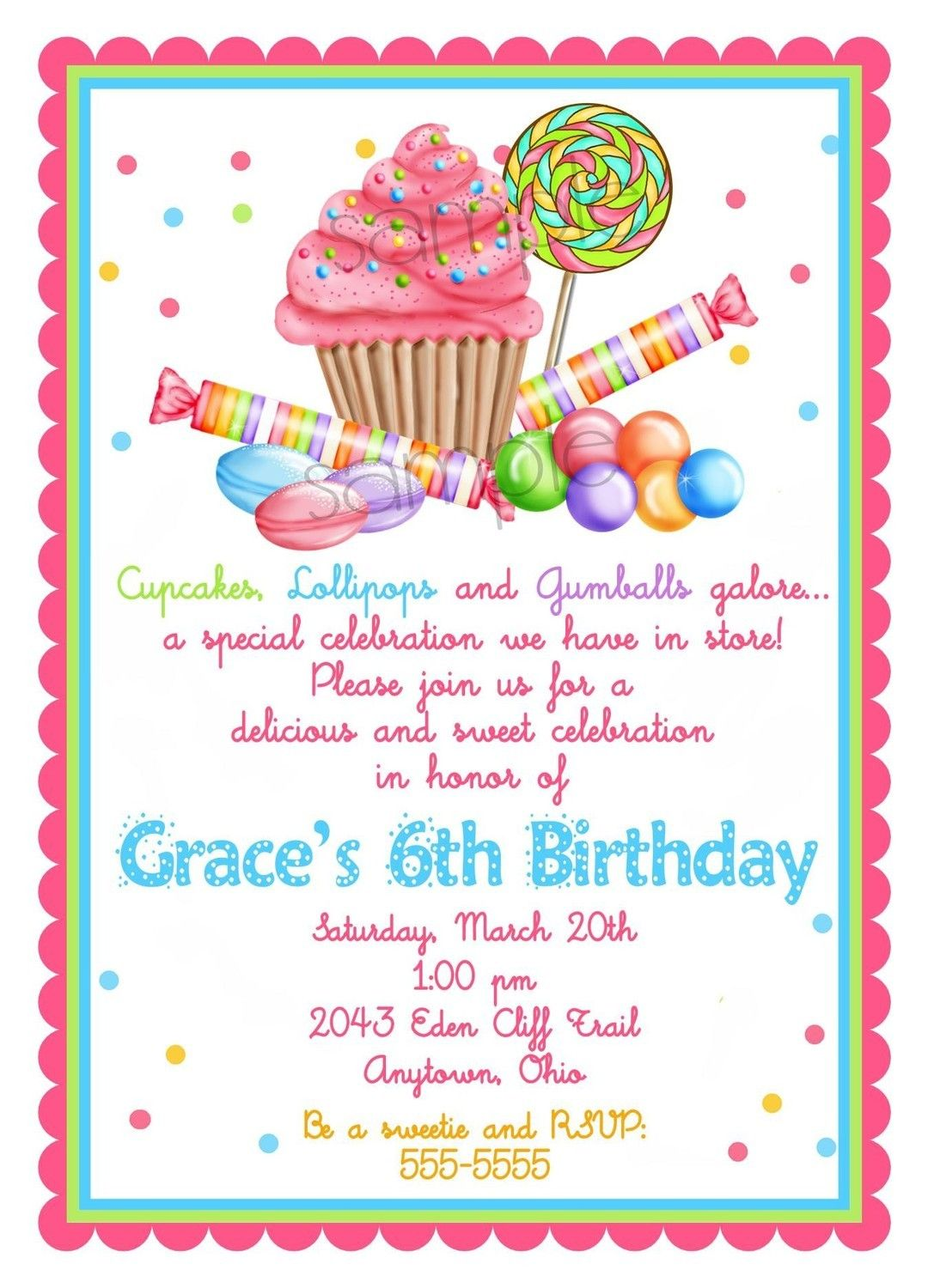 Sweet Shop Birthday party Invitations, Candy Cupcake