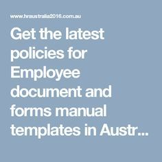 Get The Latest Policies For Employee Document And Forms Manual