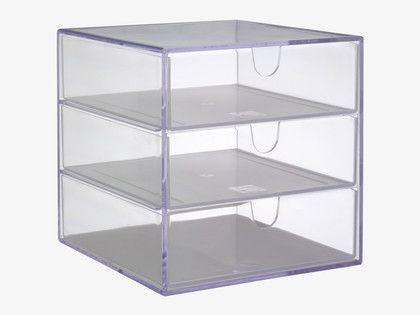 Superior PALASET Clear Acrylic 3 Drawer Box