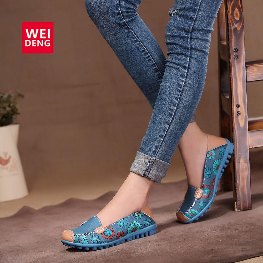 78624e3e6cf 4 Color Women Casual Genuine leather Boat Comfortable Soft Gommino Flat  Ventilation Fashion Printing Flat Slip