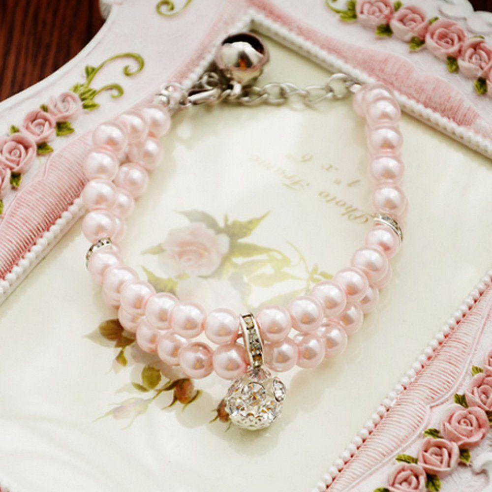 XDOBO 2 Rows Handmade Pink Pearls Rhinestones