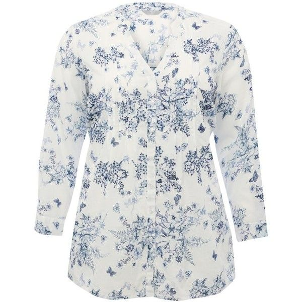 M&Co Plus Floral Print Pin Tuck Shirt (125 BRL) ❤ liked on Polyvore featuring tops, plus size, white, long-sleeve shirt, plus size tops, womens plus tops, plus size long sleeve shirts and plus size shirts