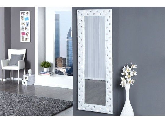 Beautiful Miroir Mural Blanc Simili Cuir Strass Ideas - Amazing ...