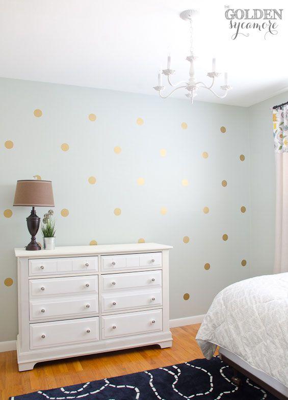 DIY Gold Polka Dot Wall Thegoldensycamorecom Home Decor - Wall decals polka dots