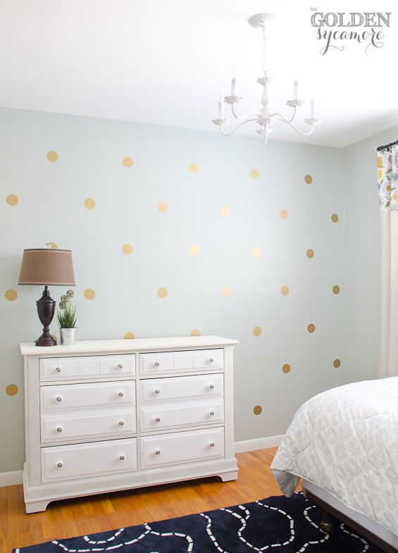 DIY Gold Polka Dot Wall Thegoldensycamorecom Bedroom - How to make vinyl decals for walls