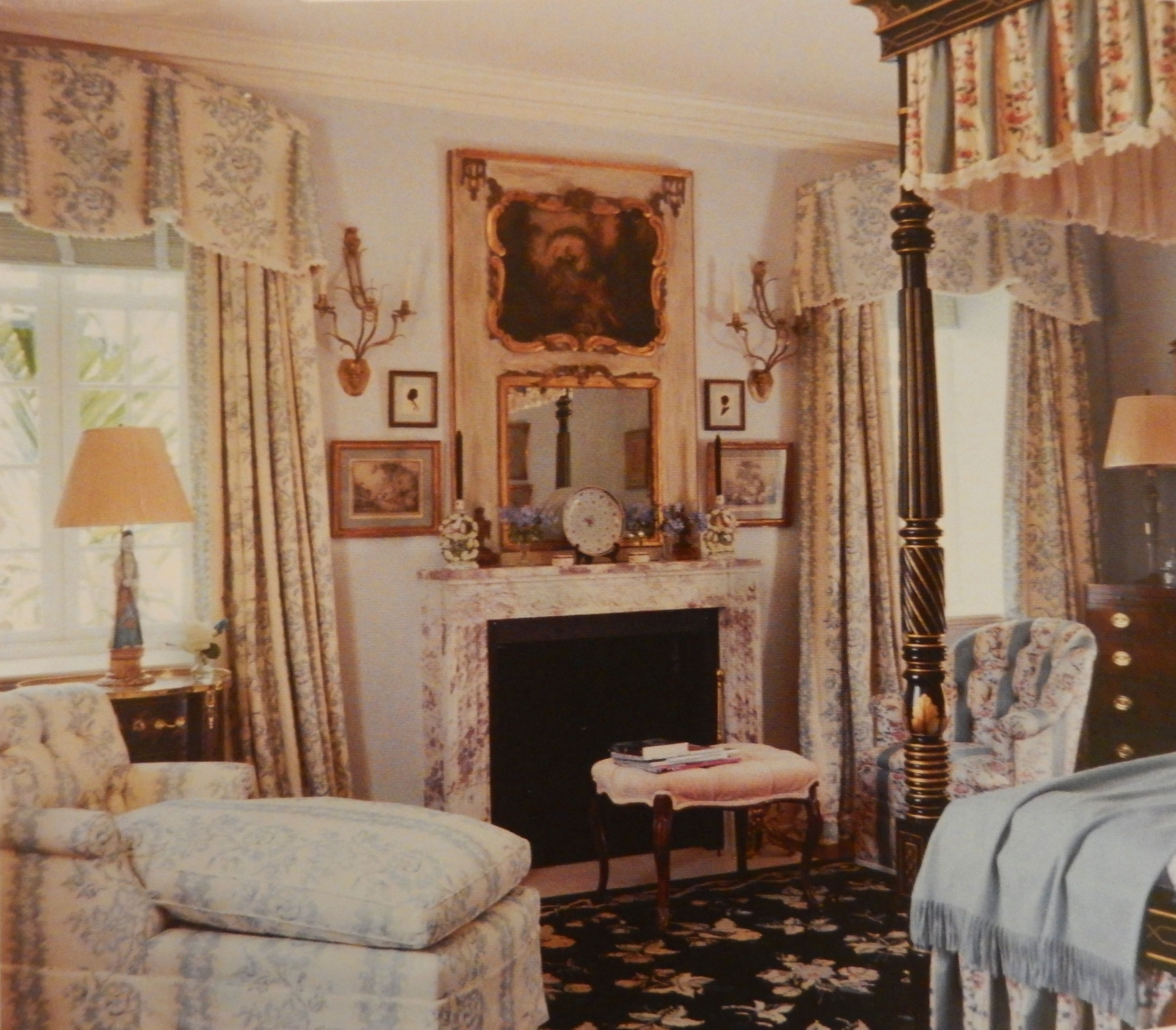 A Lovely Bedroom In Palm Beach With Beautiful Curtains