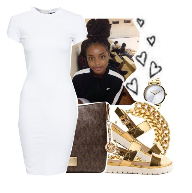 """""""white and gold"""" by eniola29 ❤ liked on Polyvore featuring Nixon, ALDO, Michael Kors and SELECTED"""
