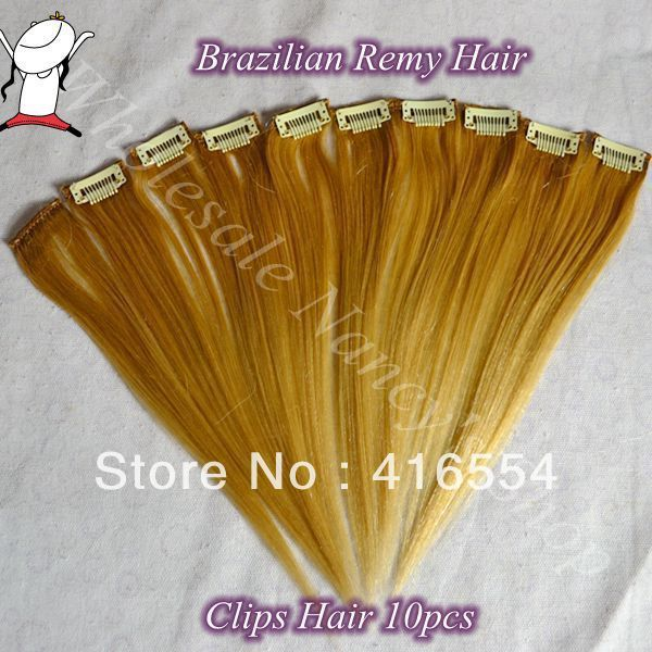 12inch 10PCS/Set Clips in Human Hair Extensions Straight Brazilian Hair F27/613#  blonde color Free Shipping $13.80