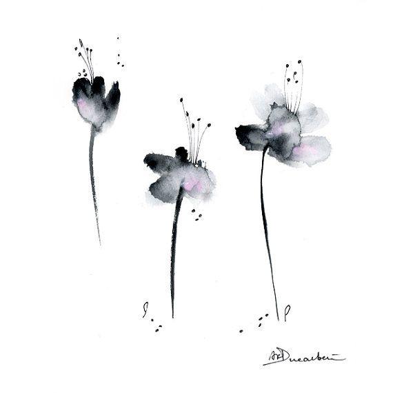 Black Flower Watercolor Art By Tae Lee: Black Pink Flowers Watercolor Painting Original Abstract