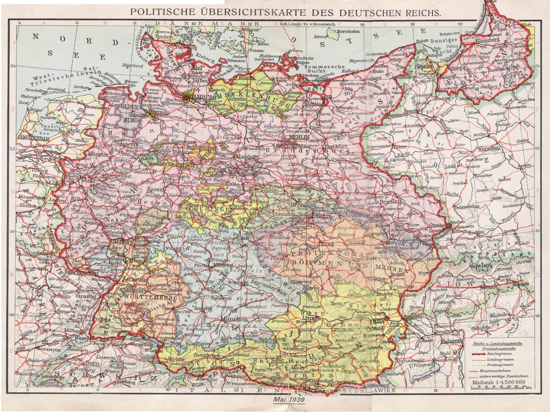 deutschland 1939 karte Politische übersichtskarte des Deutschen Reichs 1939 | Landkarte