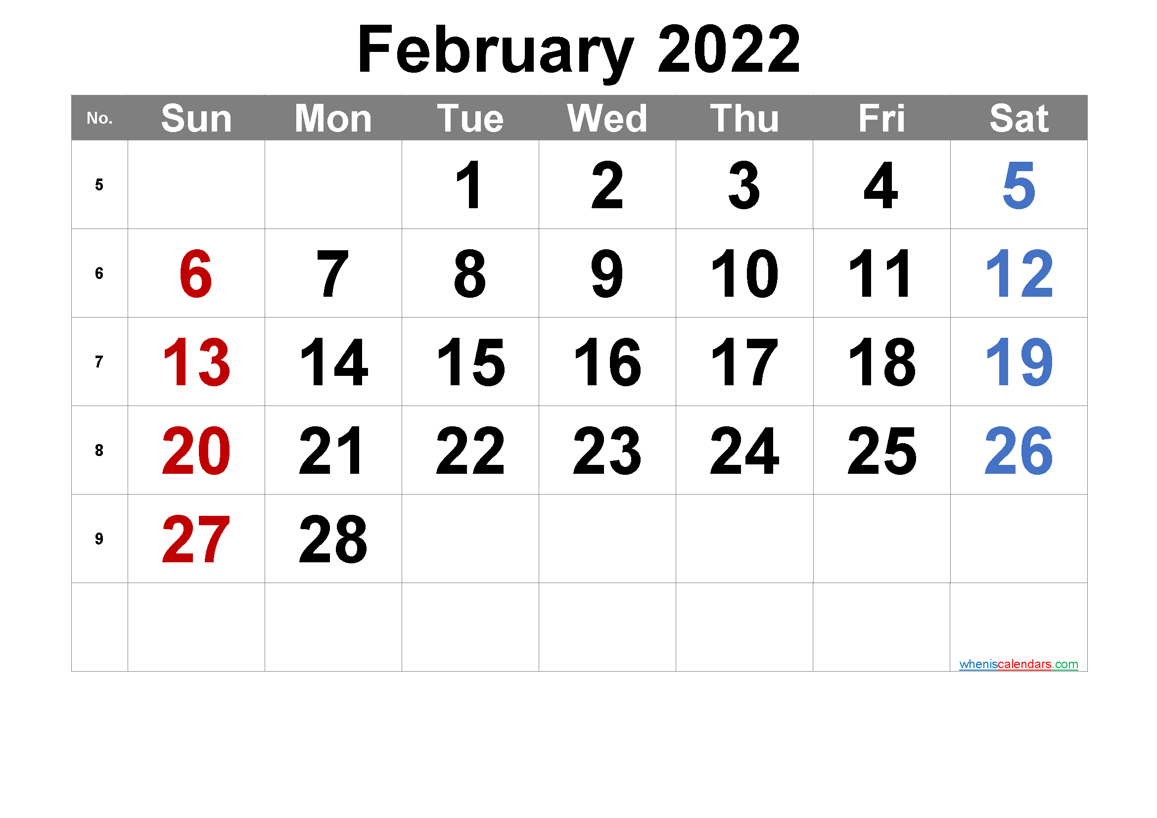 Printable February 2022 Calendar - 6 Templates | Calendar ...
