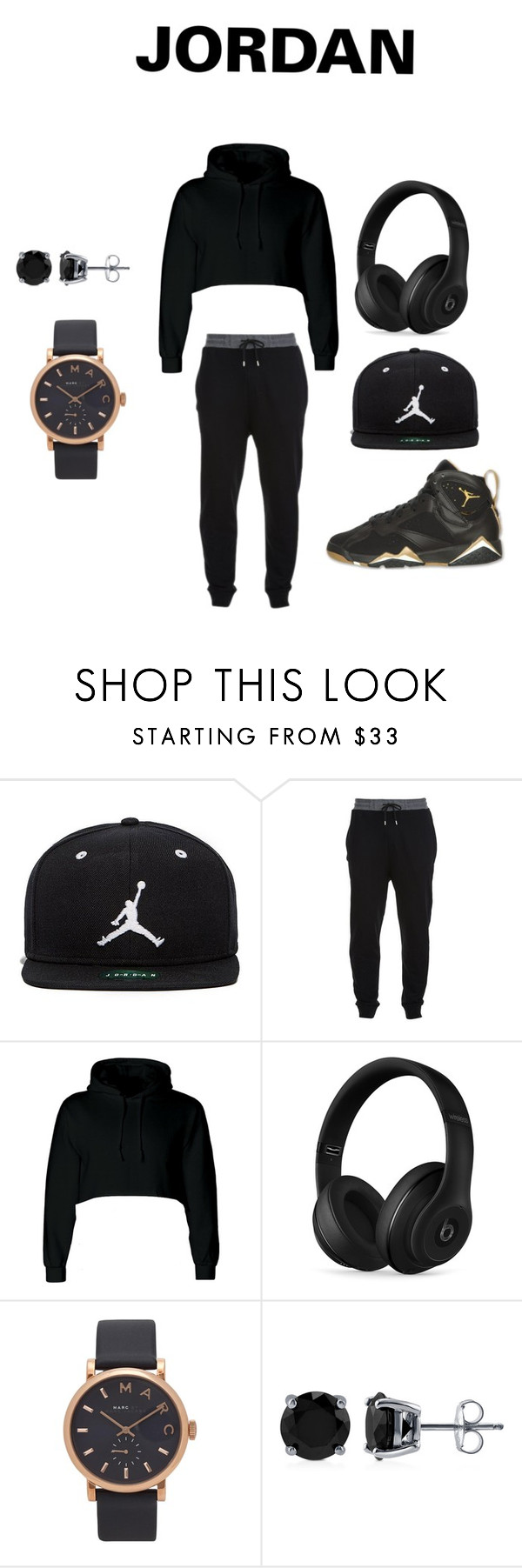 """""""Black And Gold!!!!!!"""" by maddicampbell on Polyvore featuring Jordan Brand, McQ by Alexander McQueen, Beats by Dr. Dre, Retrò, Marc Jacobs and BERRICLE"""