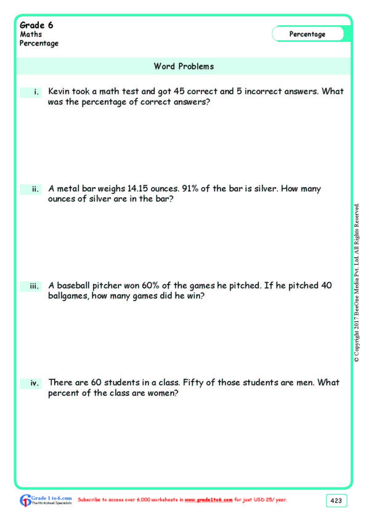 Worksheet Grad e 6 Math Word Problems in 2020 Word