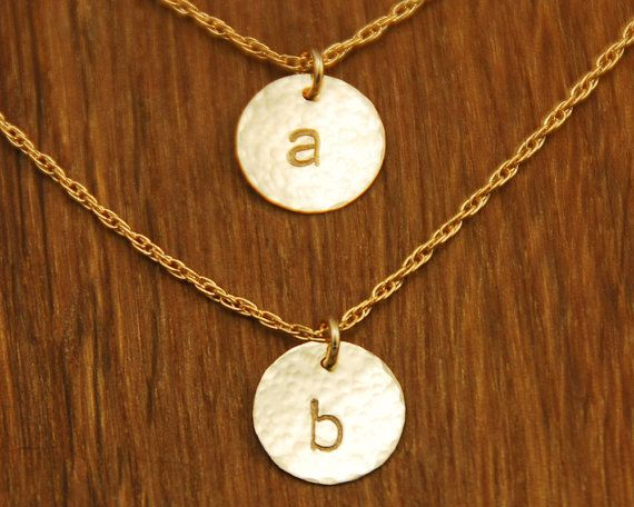 Gold Initial Disc Charm Monogram Necklaces - Hammered Sol - Custom Personalized 2 Initials
