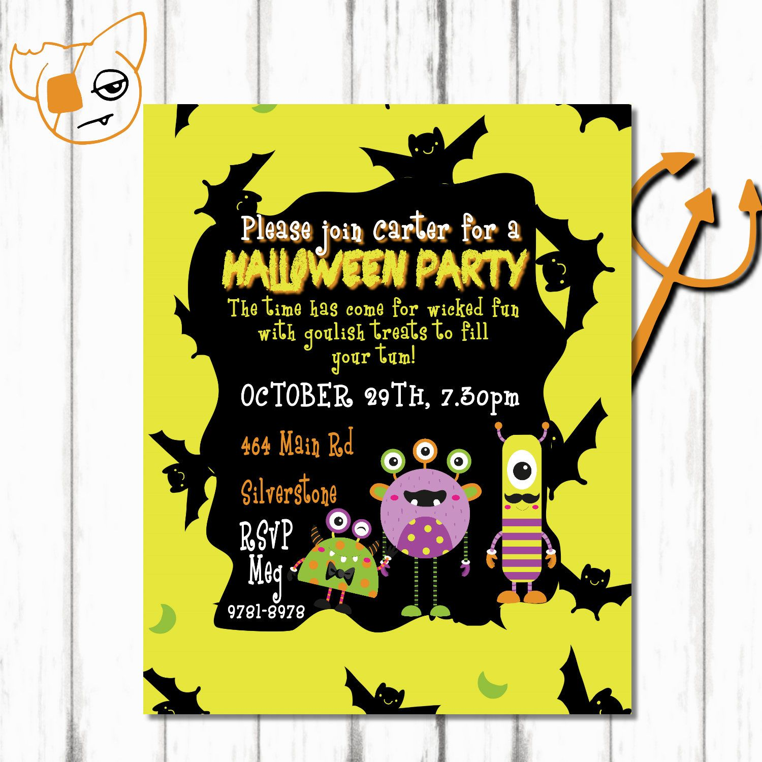 monster halloween birthday invitation, monster invitation, halloween