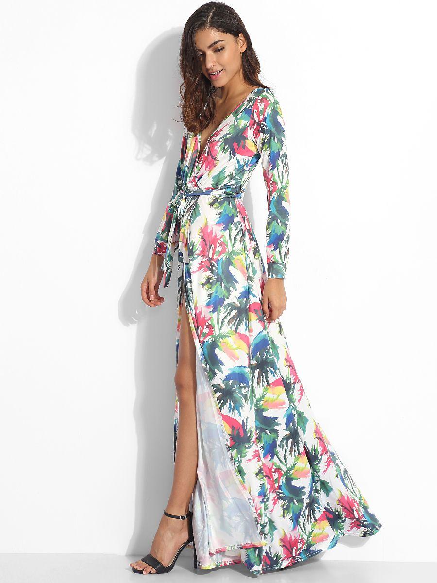 V neck dacron high slit printed maxidress maxi dress pinterest