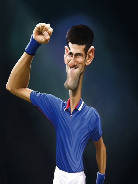 Caricature De Novak Djokovic Pour Le Livre Legendes Du Tennis Vents D Ouest Celebrity Caricatures Funny Caricatures Caricature