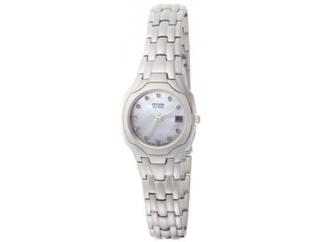Silver Tone Round Mother Of Pearl 11 Diamond Eco Drive Watch
