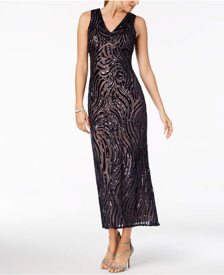 b1d99364abd7 Nightway Petite Sleeveless V-Neck Sequin Gown  ad