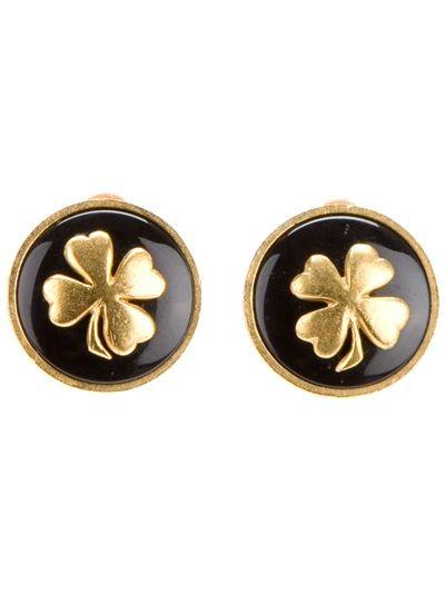 CHANEL VINTAGE Shamrock Clip On Earrings Vintage chanel