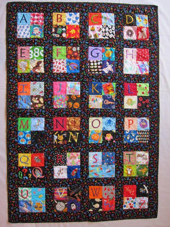 Child's Embroidered Alphabet Quilt I Spy Quilt by StitchNWine ... : alphabet baby quilt pattern - Adamdwight.com
