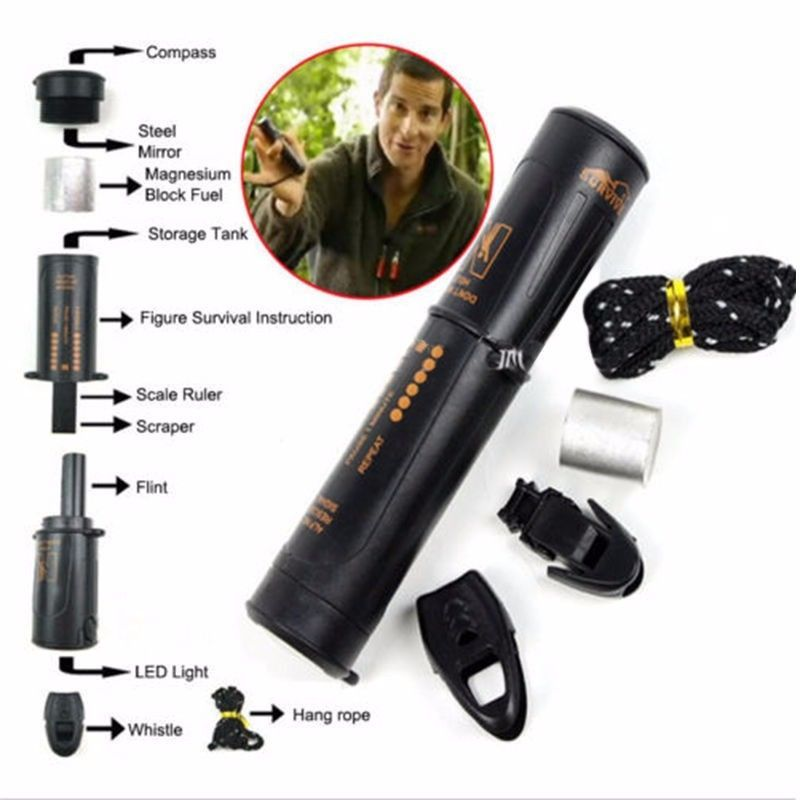 10-in-1 Survival Tool Camping Hiking Emergency Kit Compass Flint Fire Starter #Unbranded