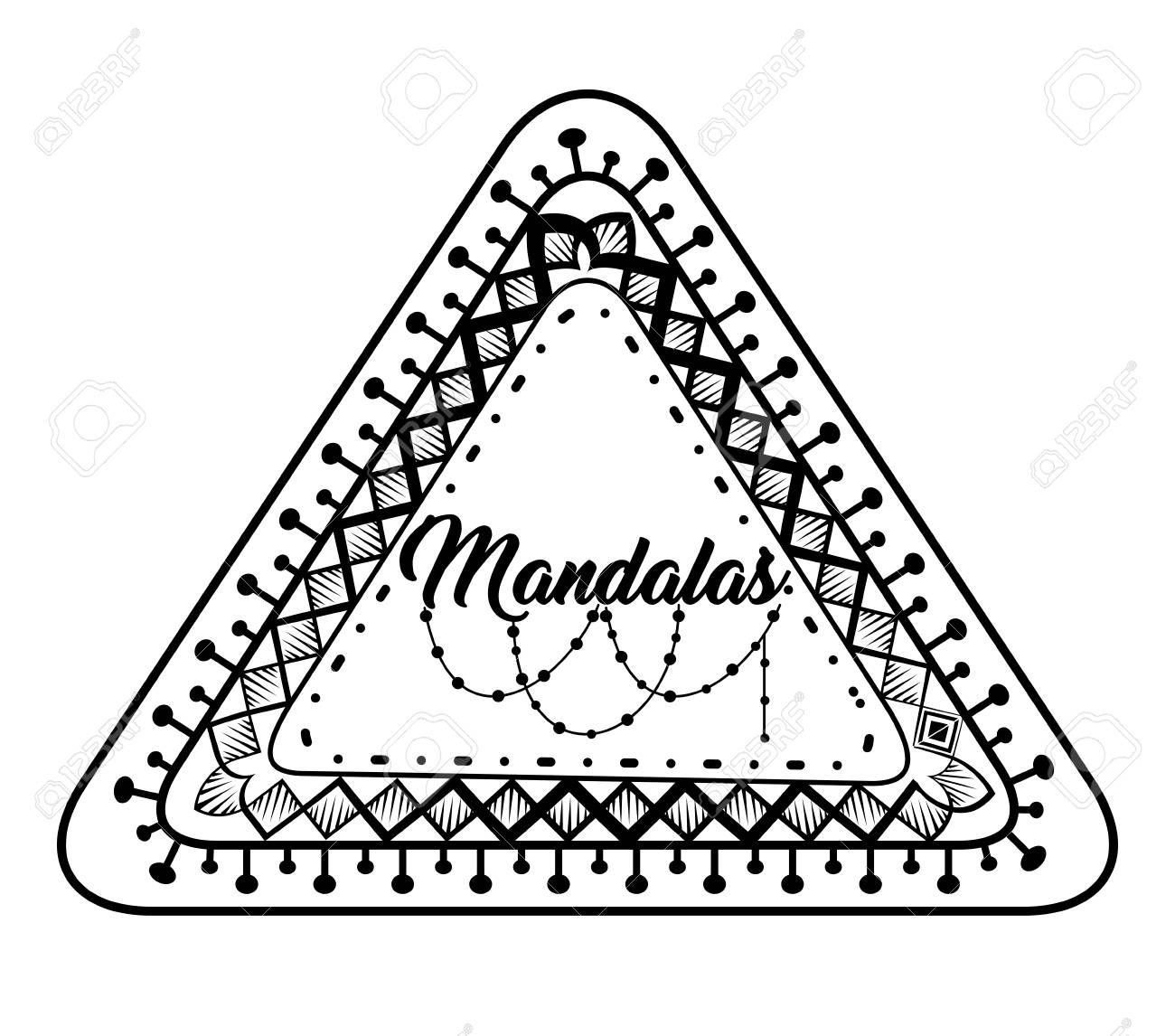 Mandala monochrome decoration icon vector illustration