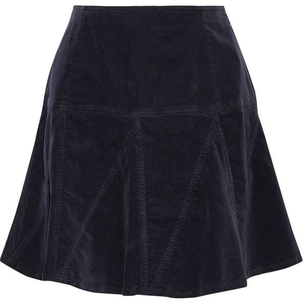 Tomas Maier Cotrton-blend velvet mini skirt ($220) ❤ liked on Polyvore featuring skirts, mini skirts, velvet, midnight blue, velvet skirt, short skirts, velvet mini skirt, tomas maier and blue skirt