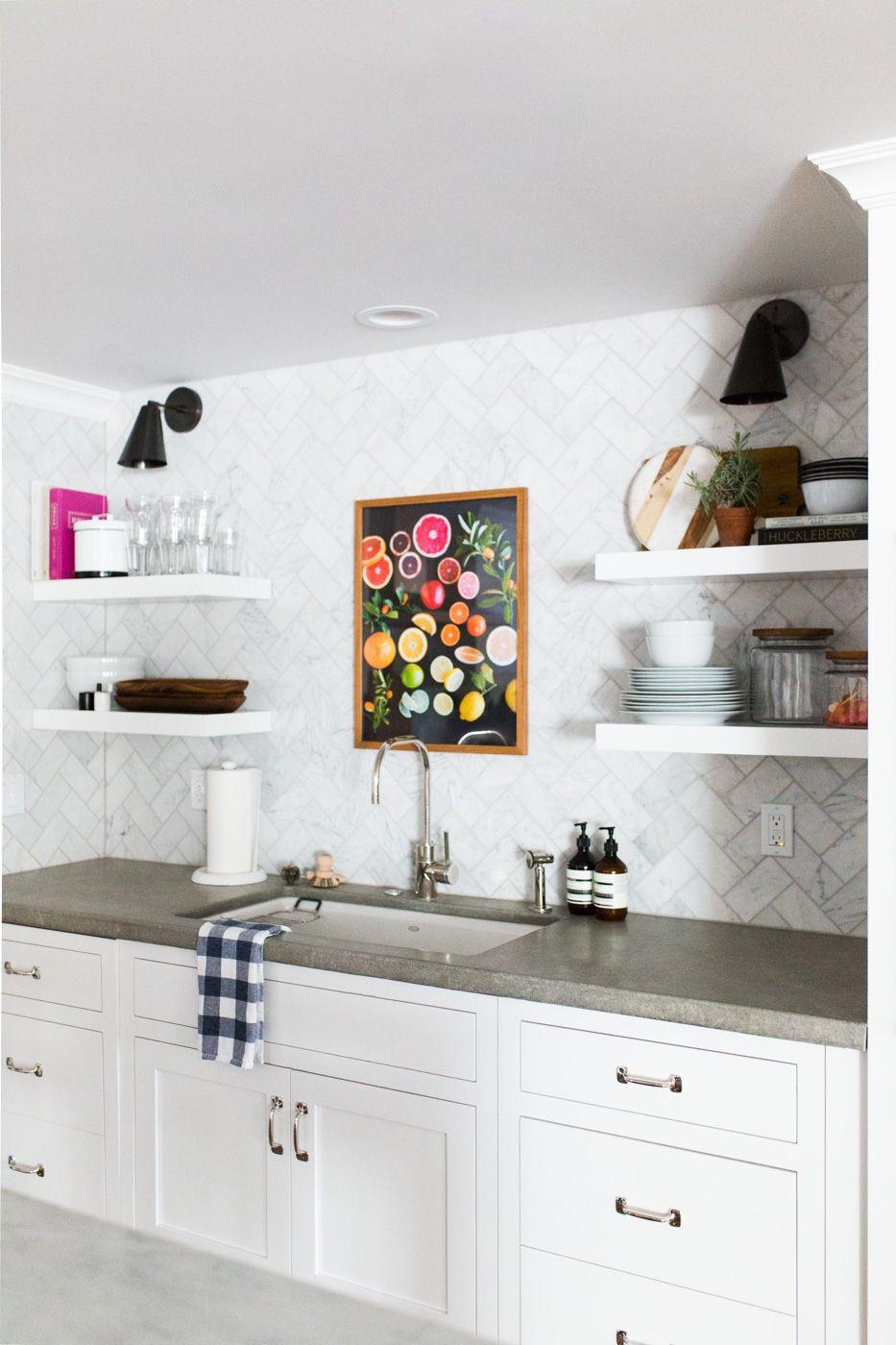 Marble Herringbone Backsplash And Floating Shelves Studio Mcgee
