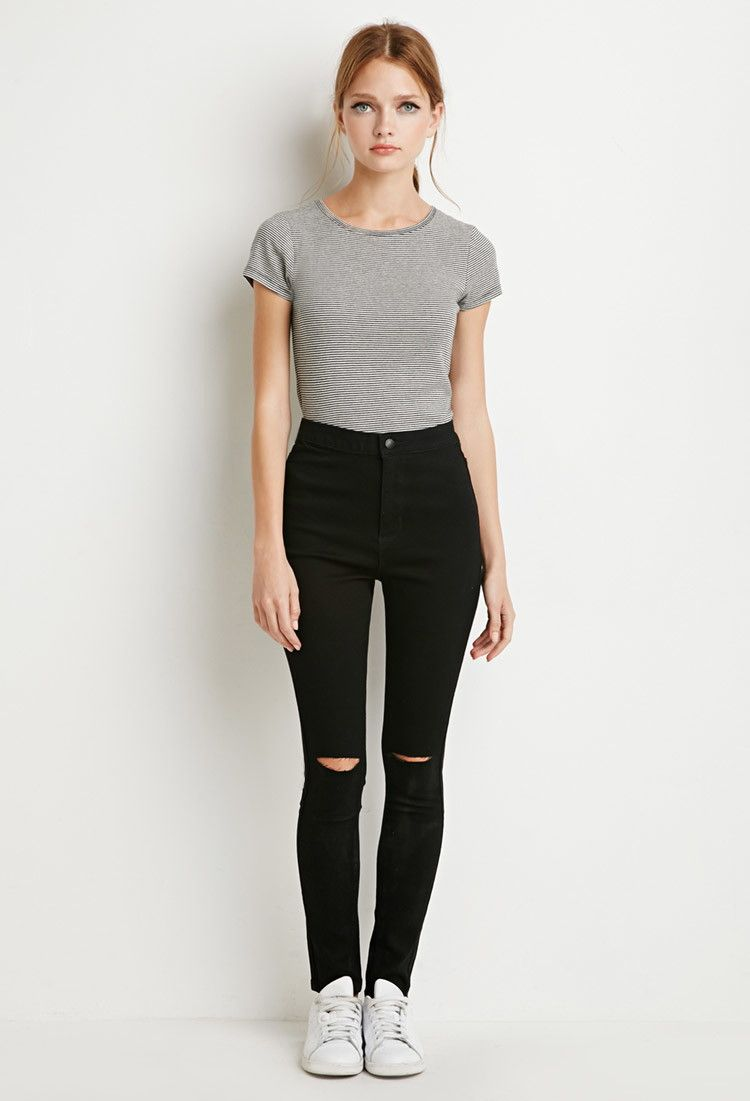 Black knee ripped jeans forever 21