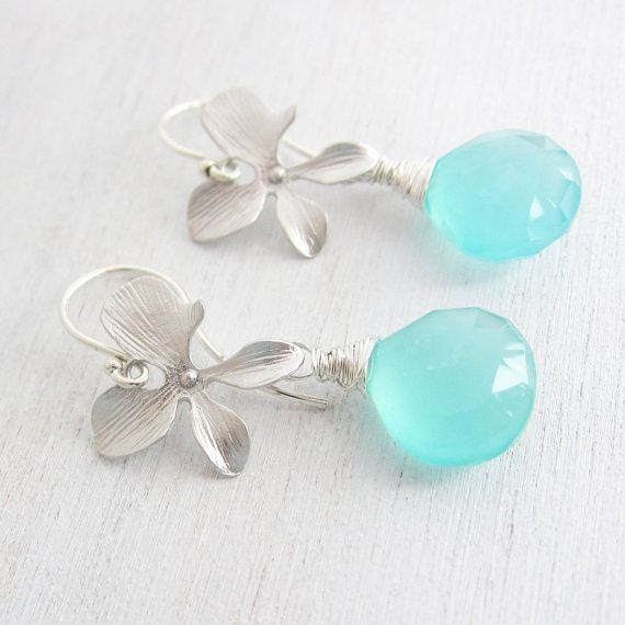 Orchid Trellis New Diamontrigue Jewelry: New Aqua Chalcedony Silver Orchid Flower By