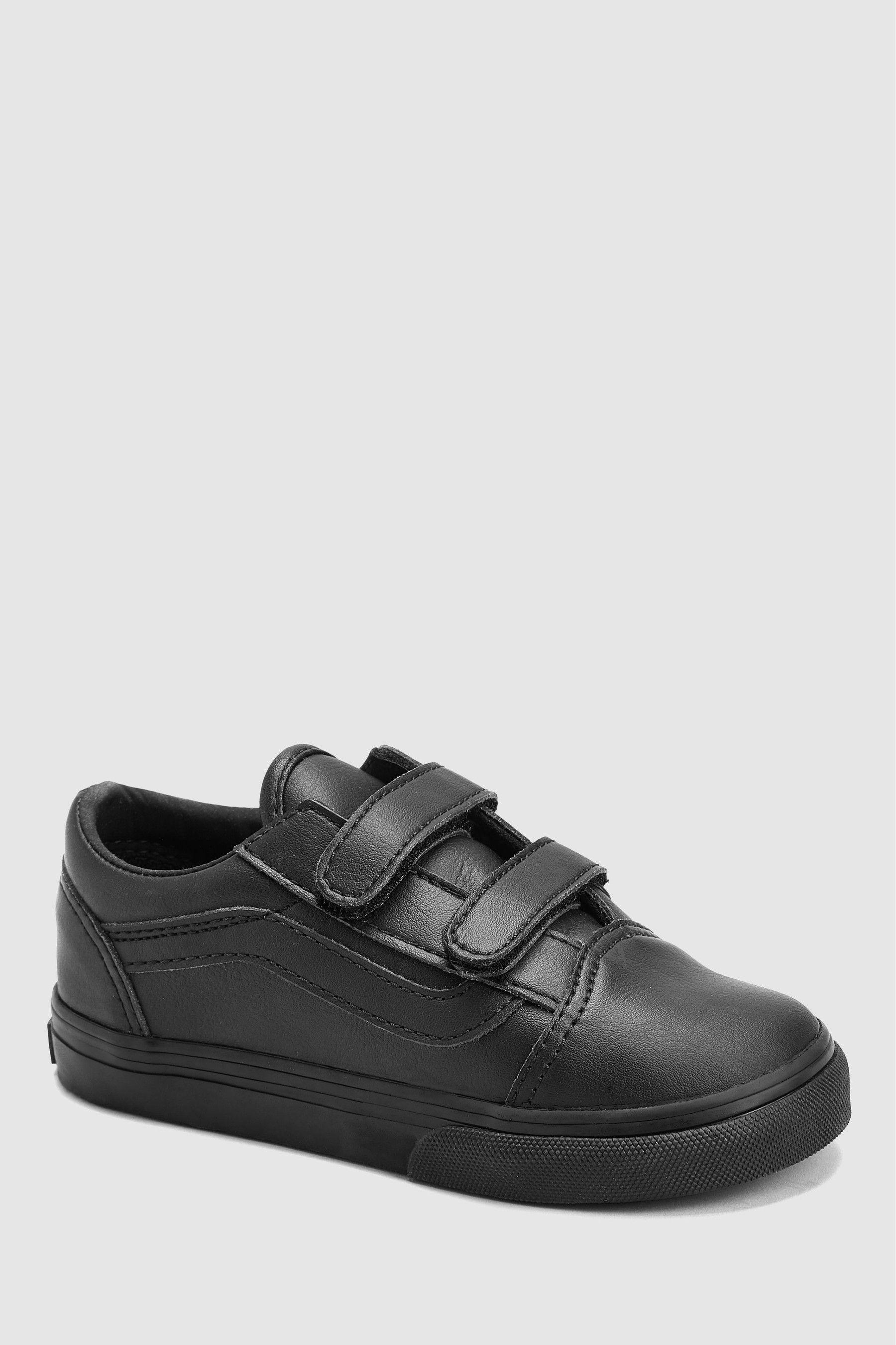 Boys Vans Infant Black Leather Old Skool Velcro Black